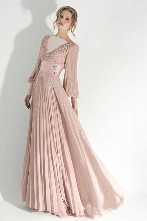 لباس مجلسی آستین دار بلند ساده