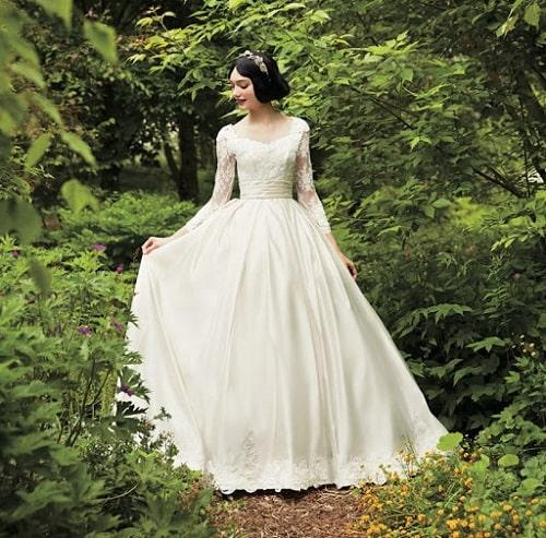 لباس عروس پرنسسی آستین دار