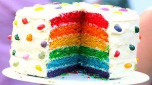 کیک خانگی با خامه رنگی