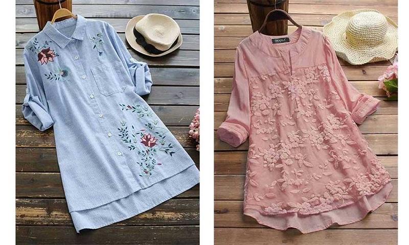 پیراهن نخی تابستانی